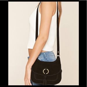 Urban Outfitters Black O Ring Suede Fringe Purse